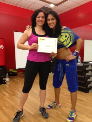 Sara Rosso with Vicky Zagarra, Zumba instructors!